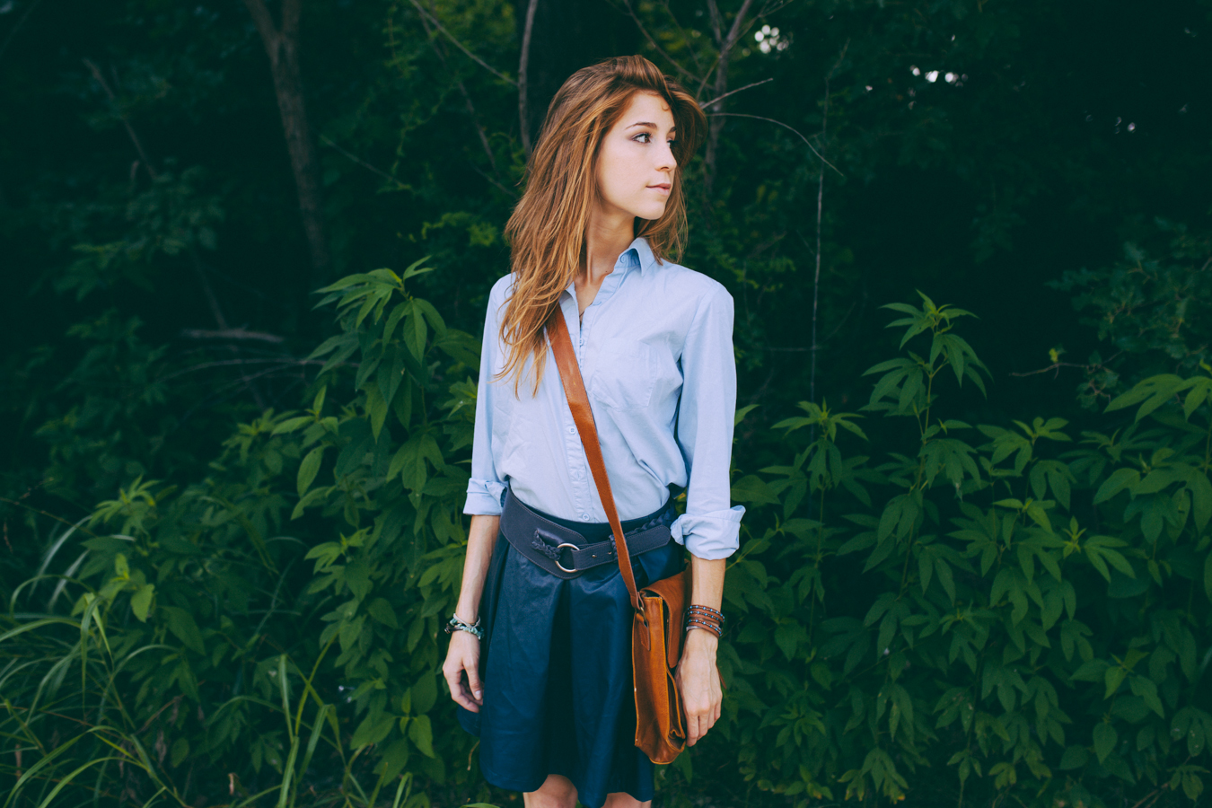 Blue Blouse + Leather Skirt + Bag