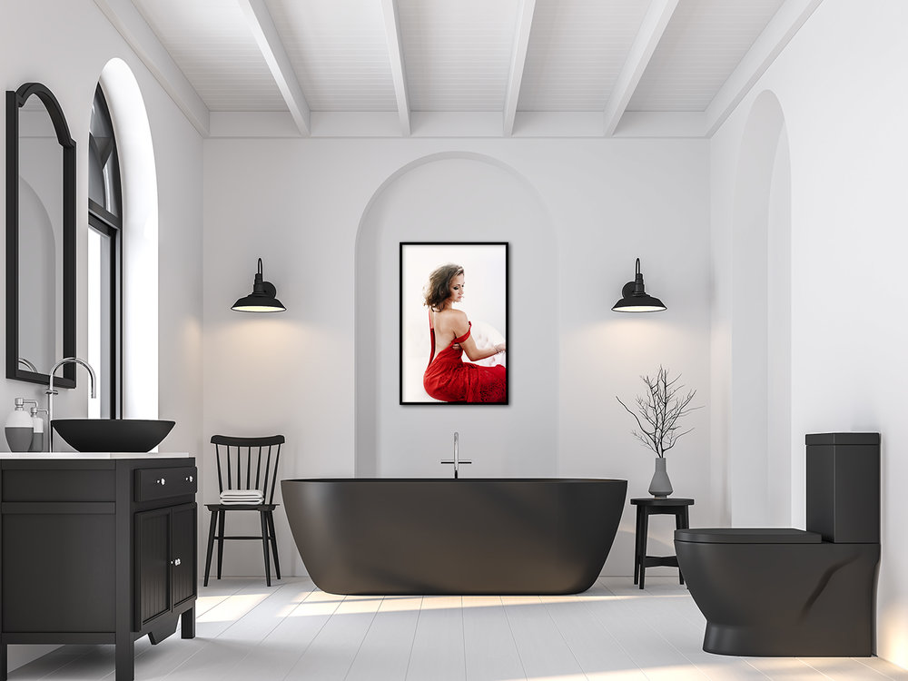 Minimal bathroom with black and white 3d render.There are white