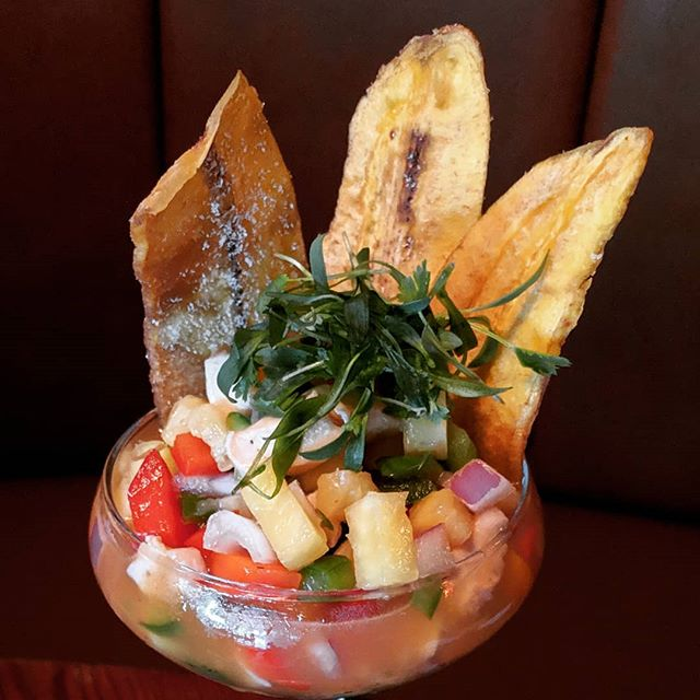 #Conch 🐚 #ceviche with 🍍☘️🍅, scooped with traditional Cuban 🇨🇺 house-made sweet plantain chips 🍌 #LittleHavanaMiami