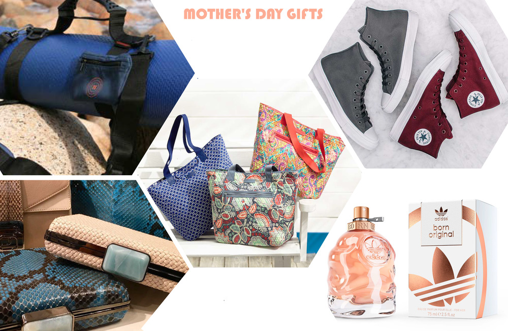 | Yoga Straps  NAMATTSTAYZ  | High Top Sneakers  CONVERSE  | Win (Women in Need) Reversible Tote  VERA BRADLEY  | Dara Clutch  ALEXANDRA CLANCY  | Born Original Fragrance  ADIDAS  |