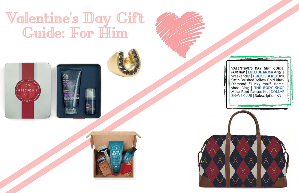 "VALENTINE'S DAY GIFT GUIDE: FOR HIM   |   LULU DHARMA   Argyle Weekender |   HUCKLEBERRY   18K Satin Brushed Yellow Gold Black Diamond ""Lucky You"" Horseshoe Ring 