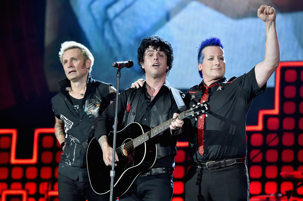   PHOTOGRAPHY Theo Wargo/Getty Images for Global Citizen - Tre Cool; Billie Joe Armstrong; Mike Dirnt  
