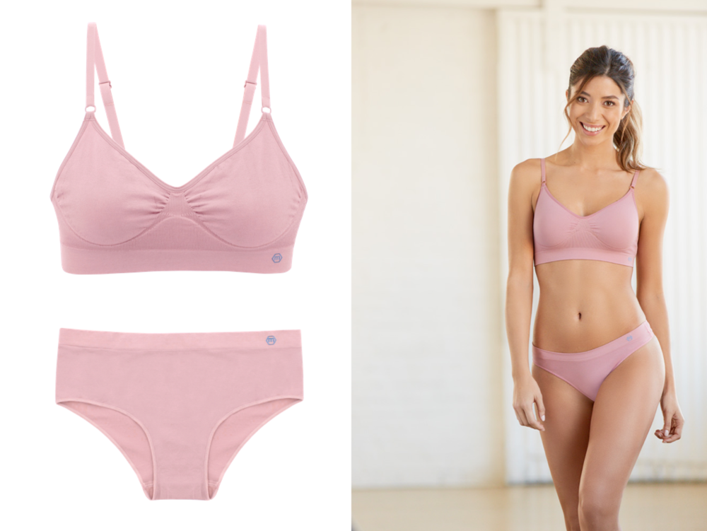 MIEL Nana Bra + Iris Hipster in Dusty Pink 20% of sales proceeds generated sitewide at Miel(October 1st - 31st) will be donated 50/50 to Look Good Feel Better and Living Beyond Breast Cancer.