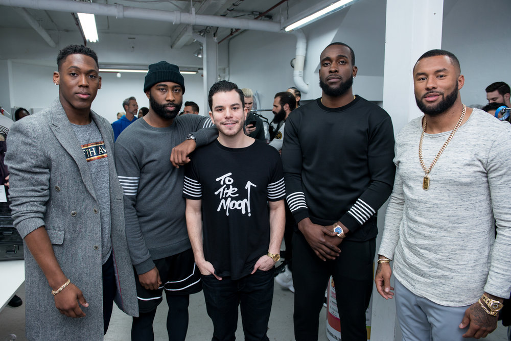 LR | Kam Chancellor ( NFL Seattle Seahawks strong safety ), Darelle Revis ( NFL Kansas City Chiefs corner back ), Jace Lipstein ( Founder + Designer of Grungy Gentleman ), Wayne Gallman ( NFL NY Giants running back ) and Nolan Carroll ( NFL Dallas Cowboys cornerback )