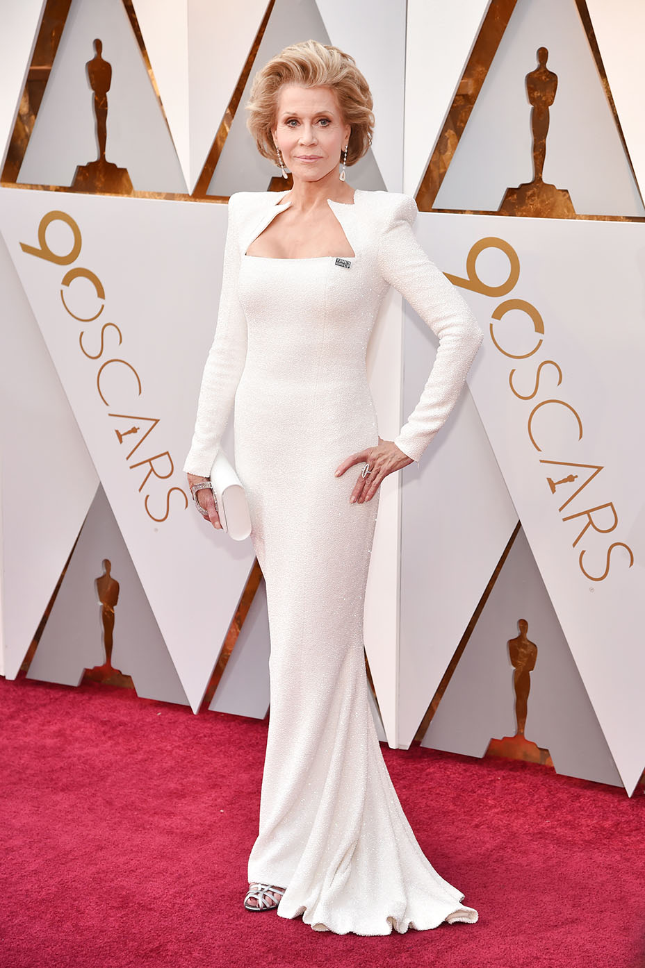 JANE FONDA  | PHOTOGRAPHY Kevin Mazur/Wire Images |   STYLIST Tanya Gill |44 FRANCOIS PREMIER/Balmain's Couture Capsule Collection White Beaded Dress | CHOPARD Jewelry | SALVATORE FERRAGAMO Shoes |PERRIN PARRIS Clutch |