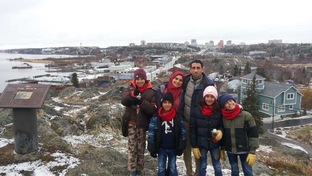 Fidaa & Khaled with their family in Yellowknife