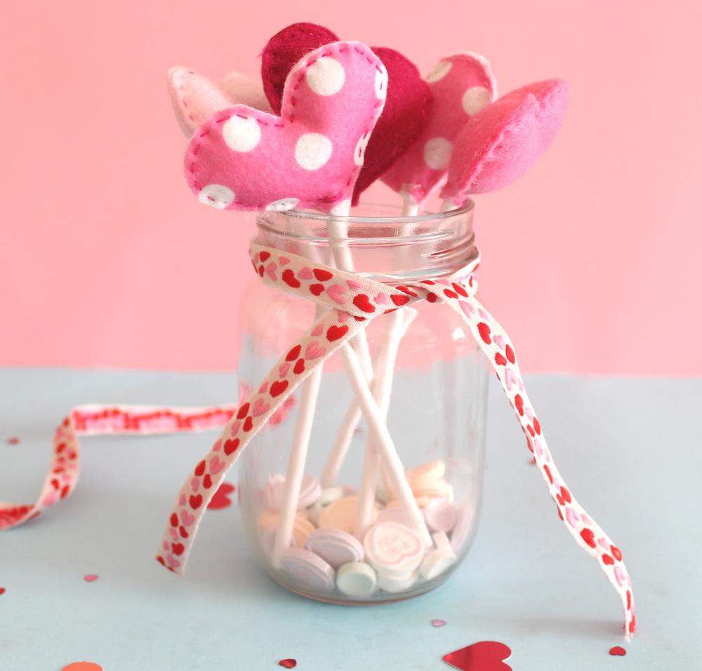 jar of valentines felt hearts
