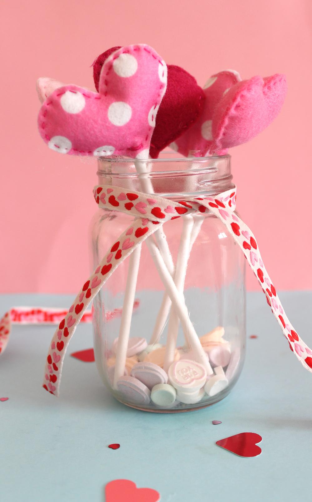 felt heart bouquet in jar