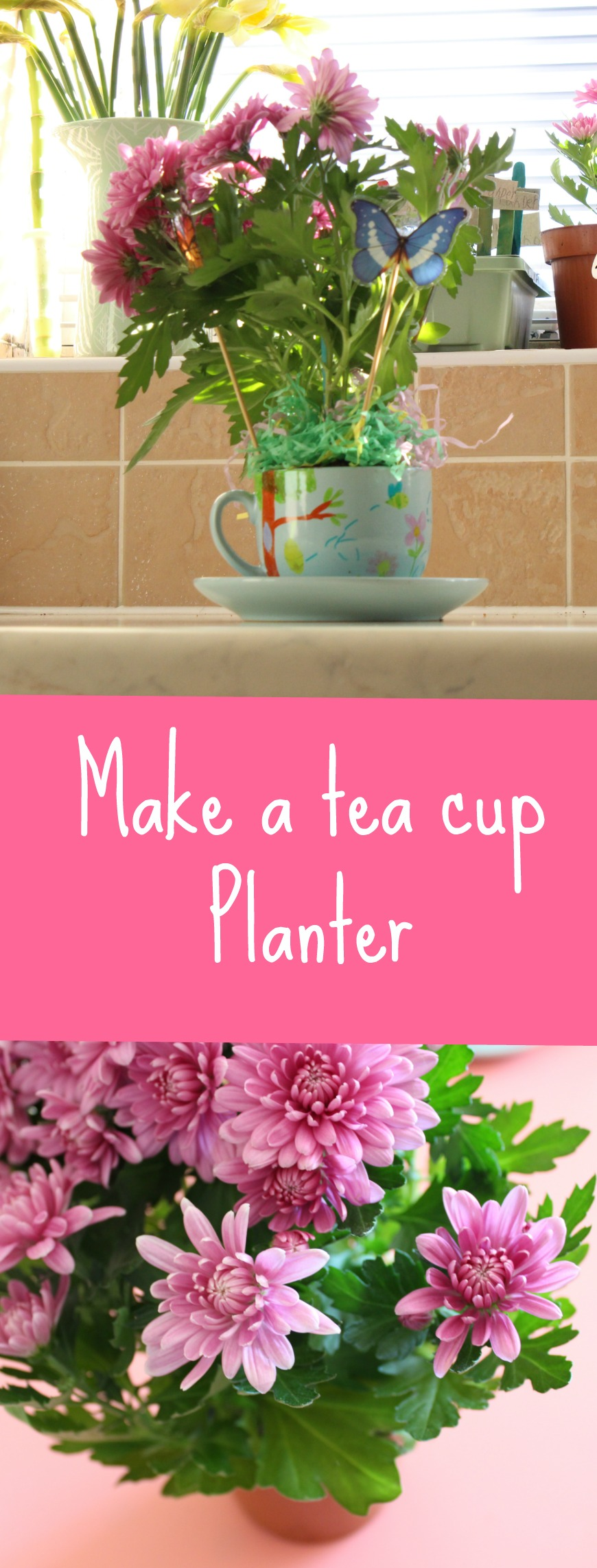 how to make a tea cup planter tutorial