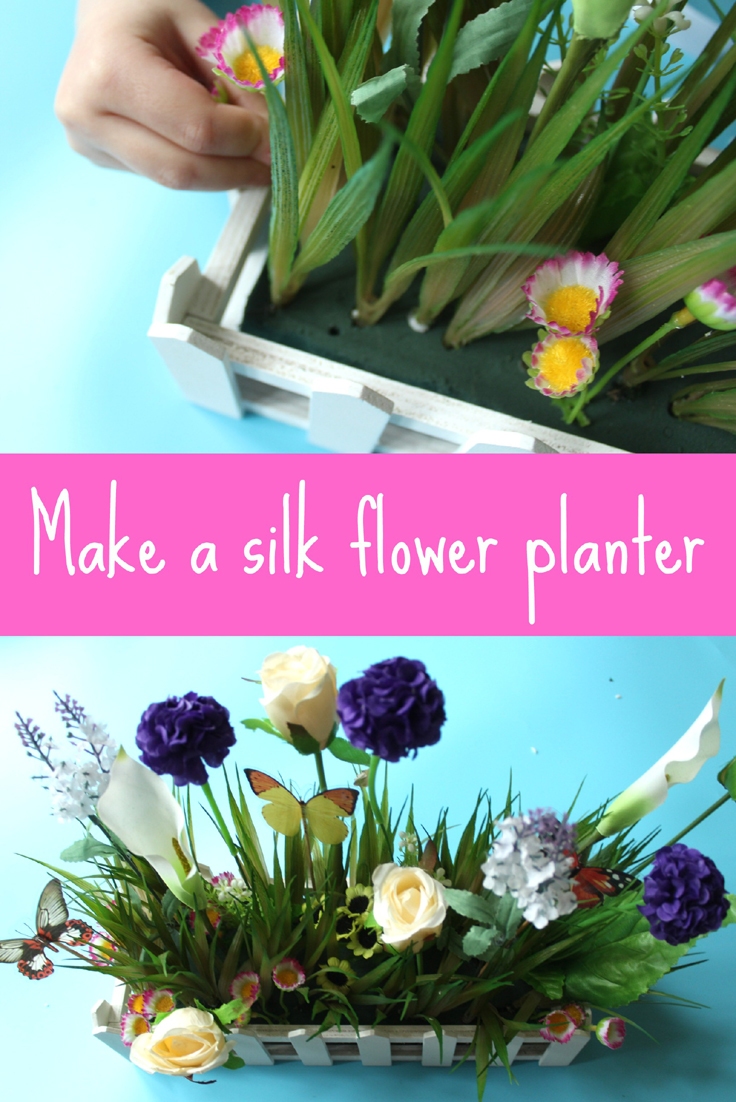 how to make a silk flower planter