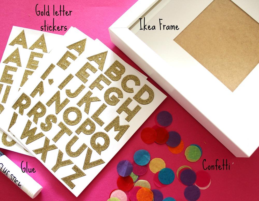 supplies for confetti art