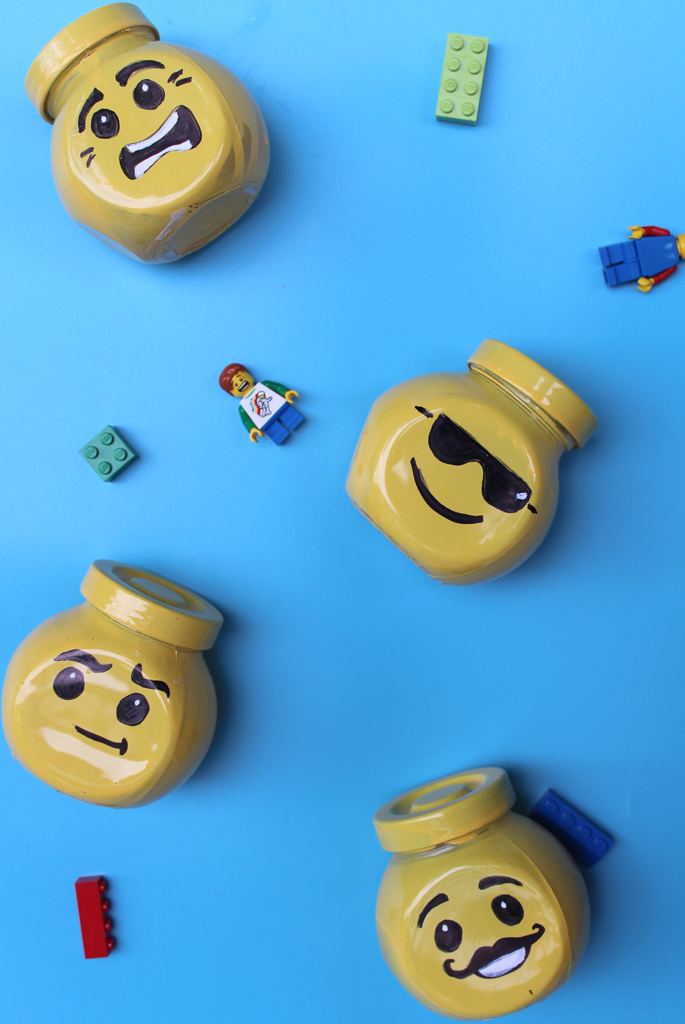 how to make a Lego head glass jar