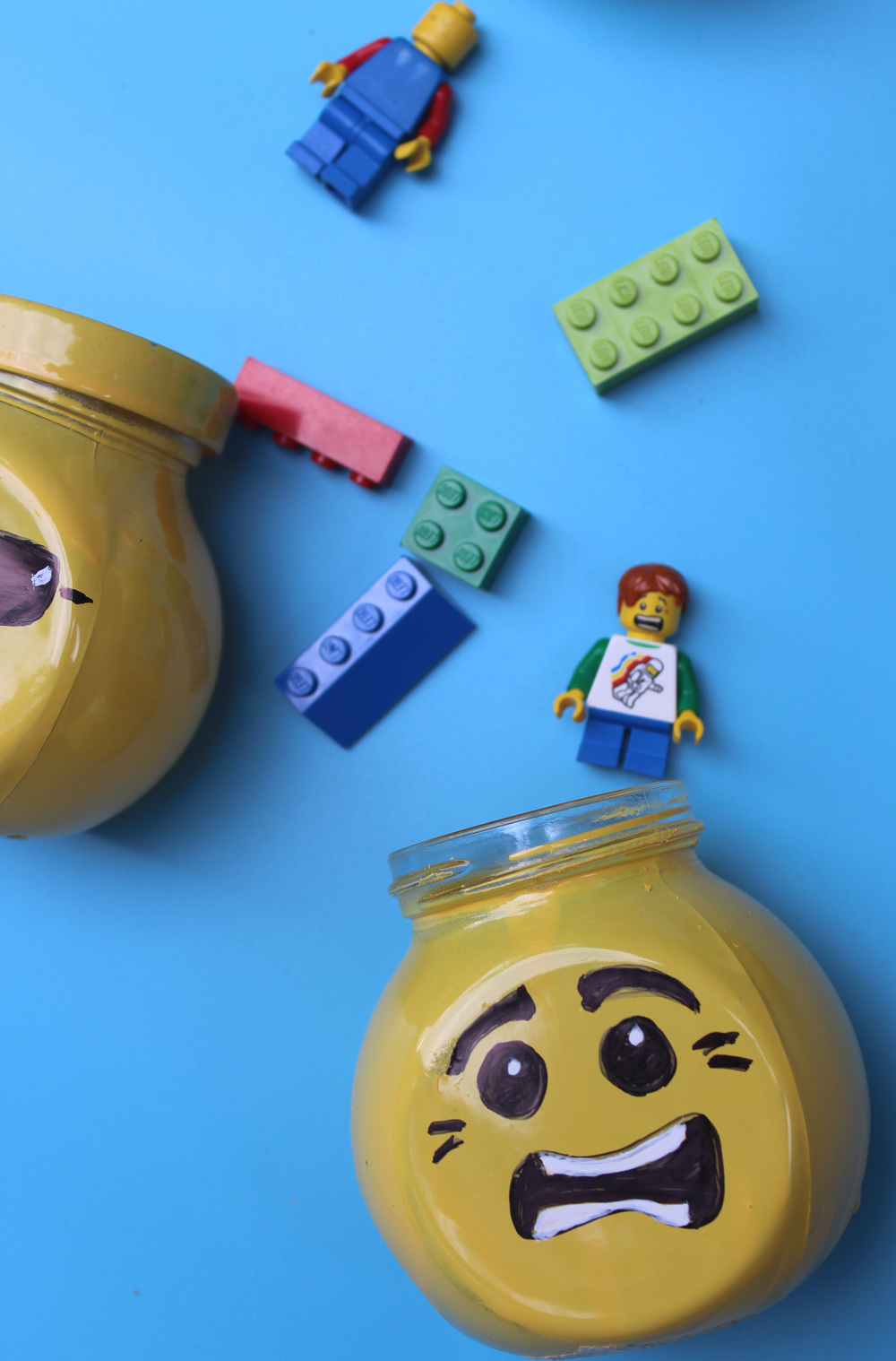 Lego head storage jar