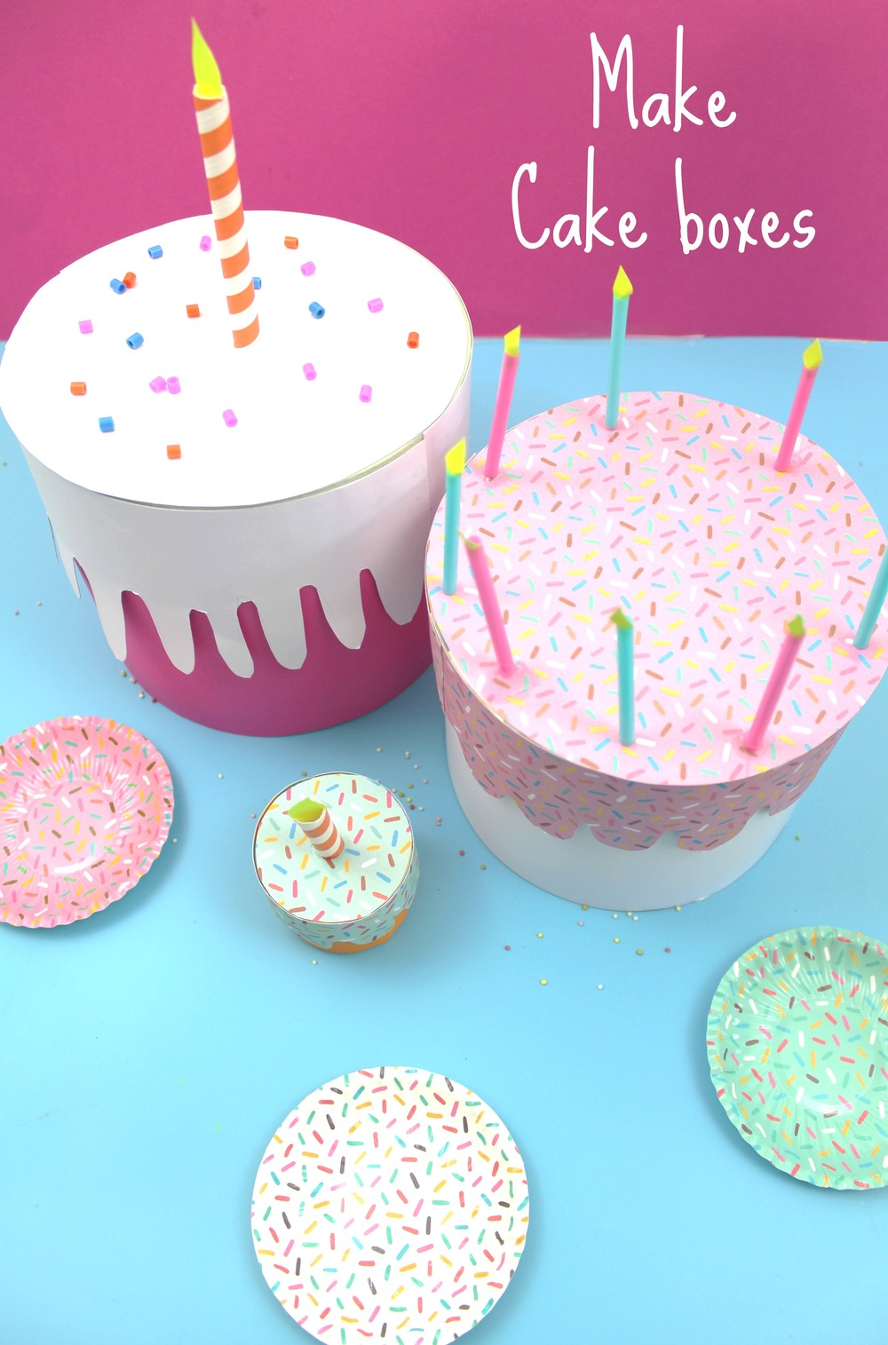how to make cake boxes, birthday craft