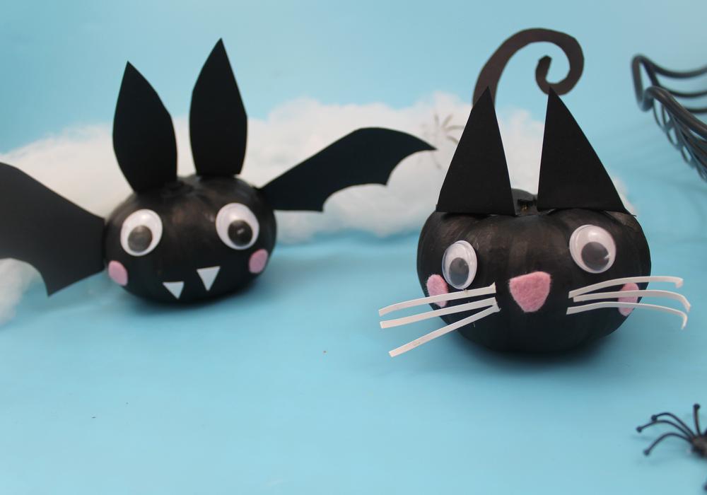 cat and bat pumpkin no carve pumpkin