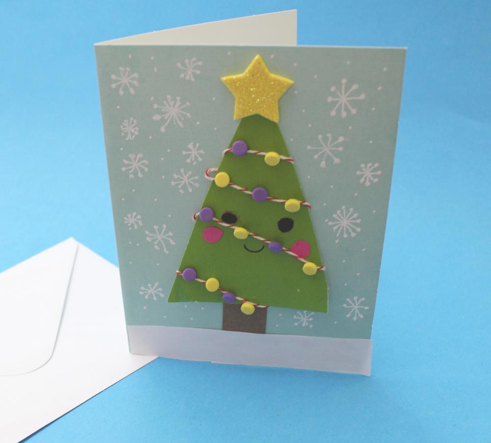 how to make a cute christmas card tree