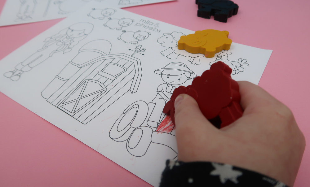 colouring in fun in the farm subscription box from mila and pheebs