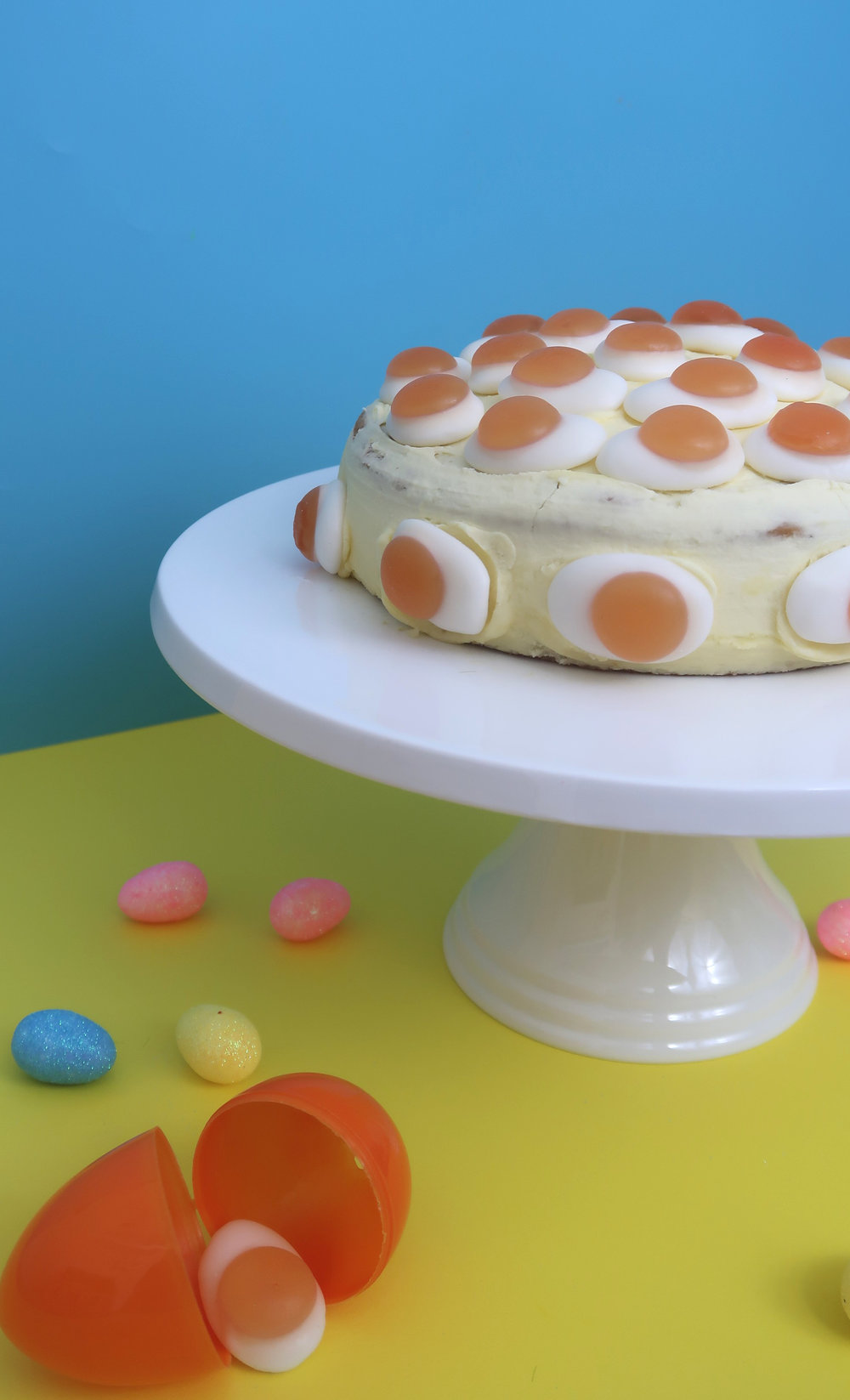 fried egg easter cake