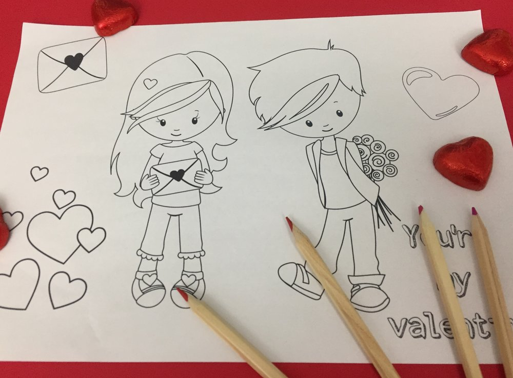 valentines kids colouring in sheet
