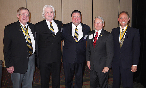 Brother Larson (far right) with Acacia International Presidents (L-R): Gerald C. Cook, Robert E. Roberson, Jeremy N. Davis, Donald W. Solanas