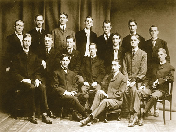 Back Row: Edward E. Gallup, Ralph B. Scatterday, Ernest R. Ringo, R.W. Bunting (pledge), C.C. Van Valkenburgh (pledge), Clarence G. Hill, Benjamin E. Deroy Middle Row: Harvey J. Howard, Harry B. Washburn, William J. Marshall, Harlan P. Rowe, Walter S. Wheeler, George A. Malcolm, Jared W. Hawkins Front Row: Charles A. Sink, James M. Cooper
