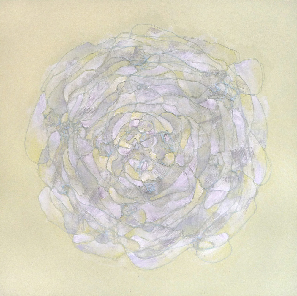 Yellow Gray,  2010.  Oil, acrylic and collage on canvas. 36 x 36 inches (91.4 x 91.4 cm)