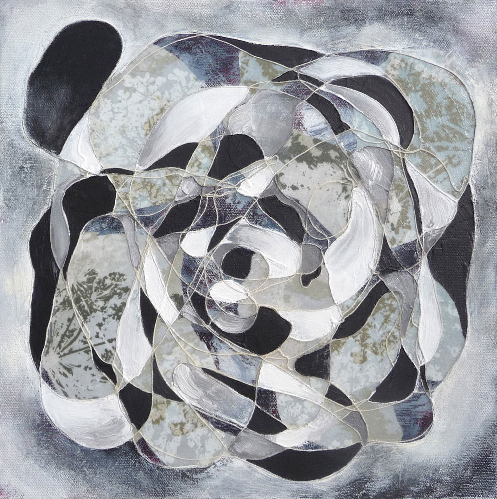 Gray White,  2013.  Oil, acrylic and collage on canvas. 12 x 12 inches (30.5 x 30.5 cm)