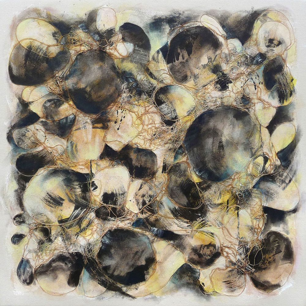 Black Yellow,  2009.  Oil, acrylic and collage on canvas. 36 x 36 inches (91.4 x 91.4 cm)