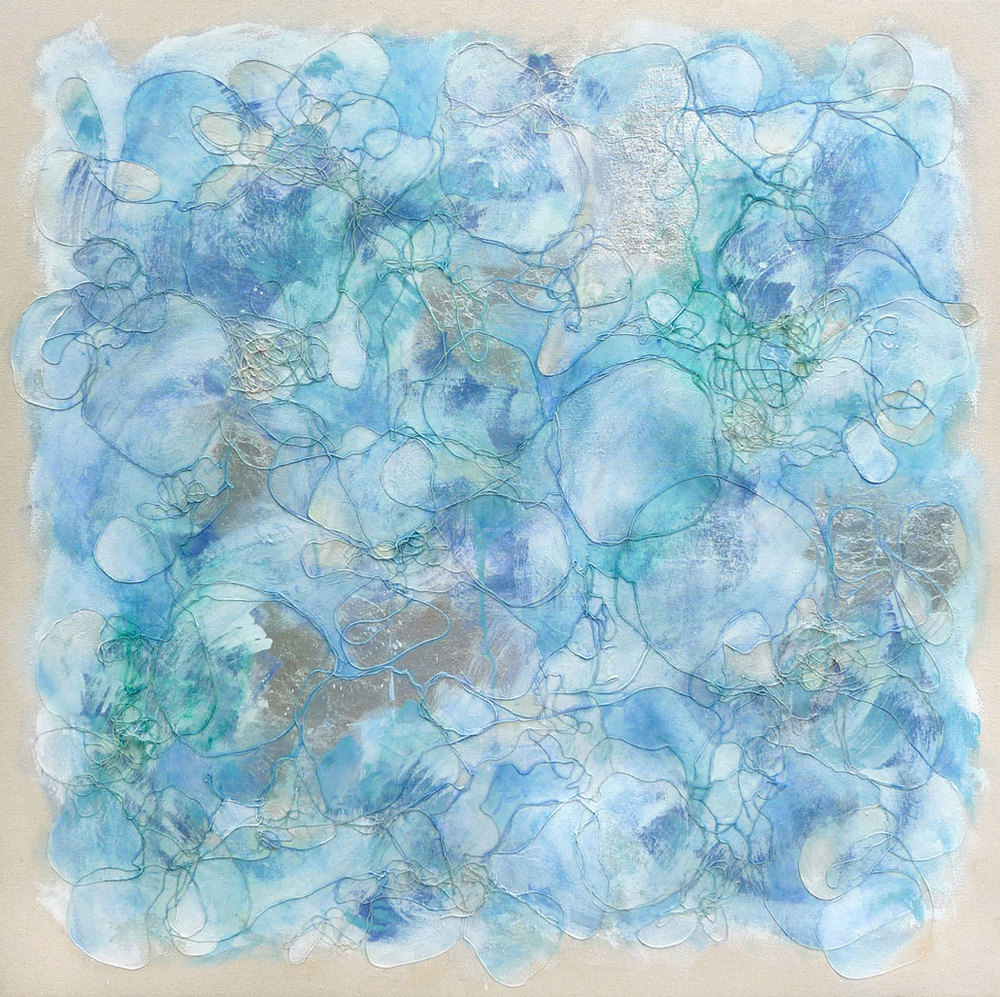 Blue Silver,  2009.  Oil, acrylic, silver leaf and collage on canvas. 36 x 36 inches (91.4 x 91.4 cm)