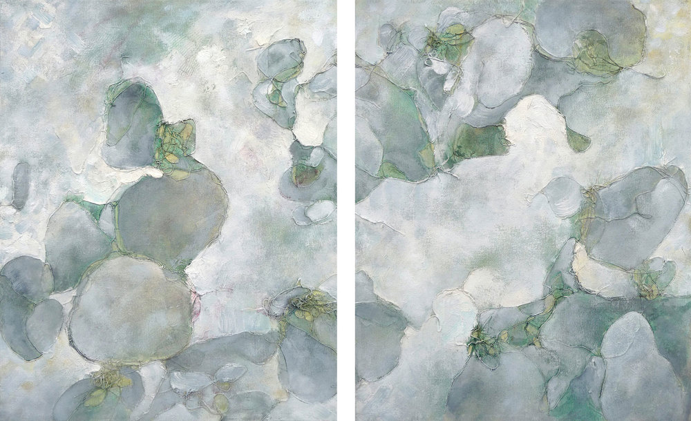 Diptych, 2014. Oil and collage on canvas. 20 x 16 inches each panel. (50.8 x 40.6 cm)