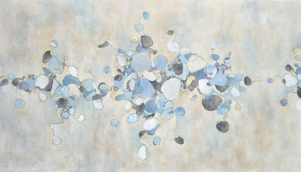 Blue White,  2009.  Oil and collage on canvas. 48 x 84 inches (121.9 x 213.4 cm)