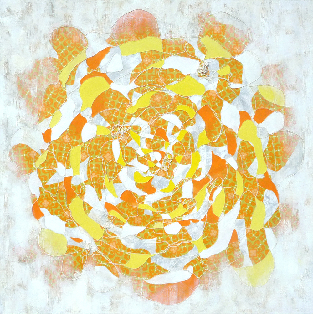 Lemon Orange , 2014.  Oil, acrylic and collage on canvas. 48 x 48 inches (121.9 x 121.9 cm)