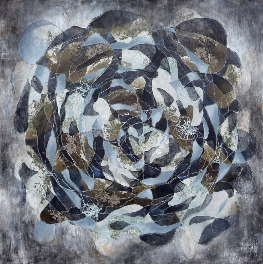 Cool Gray , 2014.  Oil, acrylic and collage on canvas. 48 x 48 inches (121.9 x 121.9 cm)