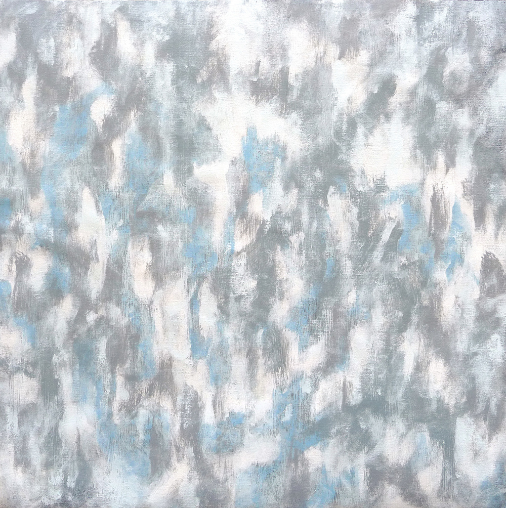 Svinøya Snowfall  , 2016. Mixed media on canvas. 24 x 24 inches (60.9 x 60.9 cm)