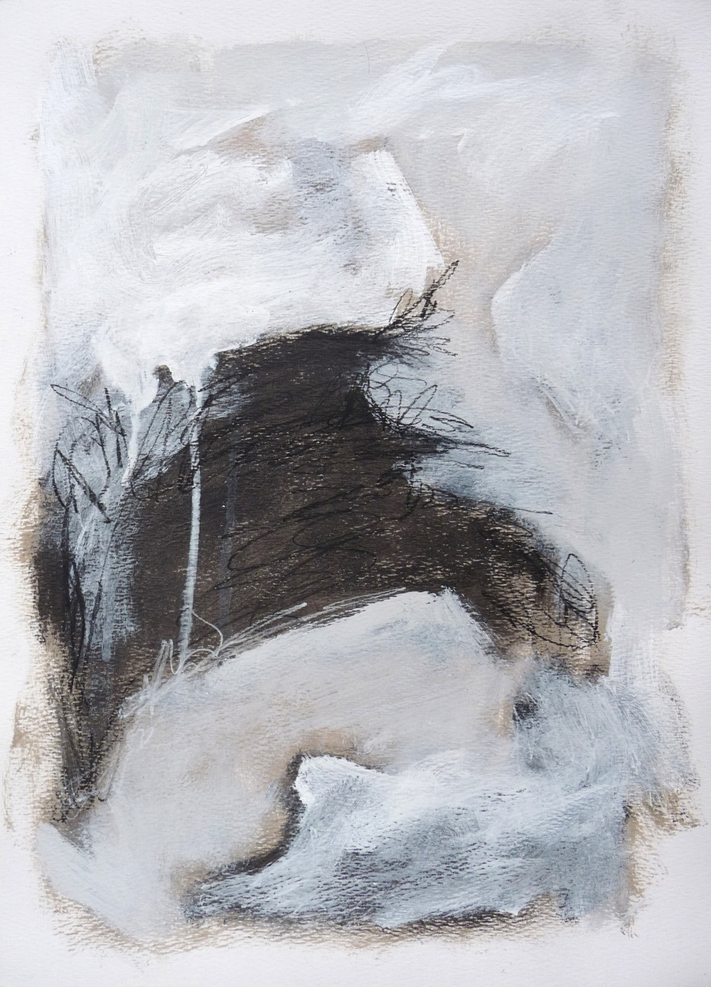 View from Kunstnerhuset II    ,   2016. Acrylic and charcoal on paper. 15 x 11 inches (38.1 x 27.9 cm)