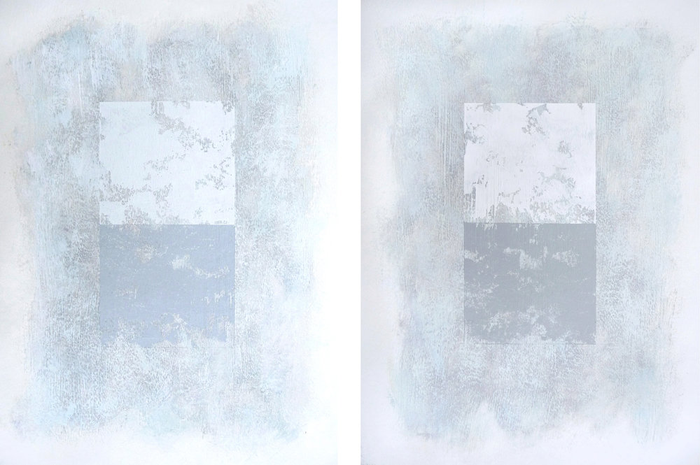 Svinøya in White I and II, 2016. Mixed media on paper. 15 x 11 inches (38.1 x 27.9 cm)