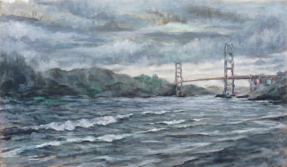 View from Baker Beach  , 2018. Oil on canvas. 36 x 60 inches (106.7 x 182.9 cm)
