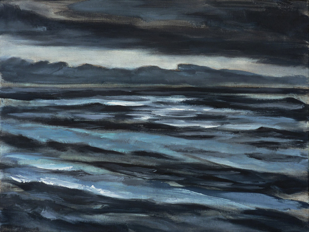 Storm at Dusk , 2018. Oil on canvas. 12x16 inches