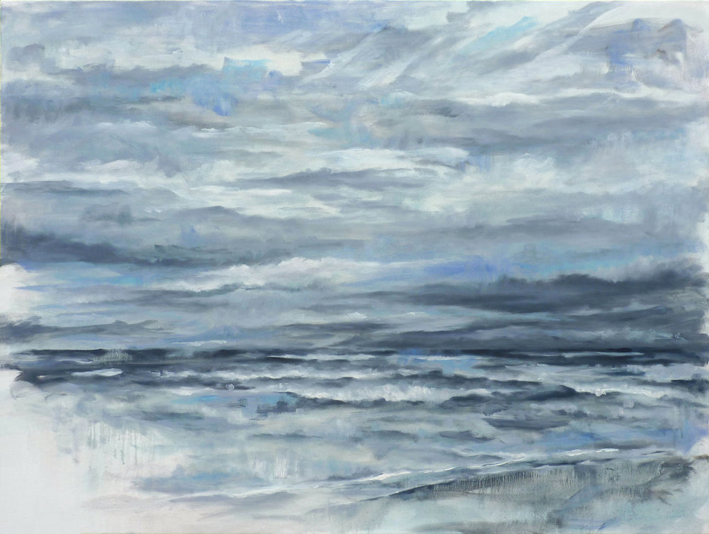 Seascape with Storm , 2018. Oil on canvas. 48x64 inches