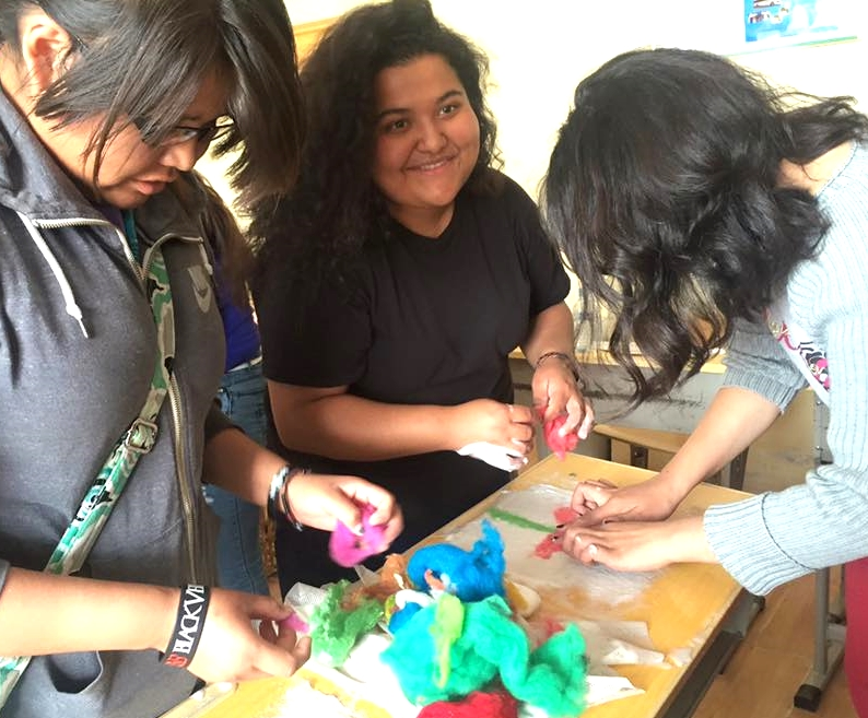 Felt making with US and Mongolian students