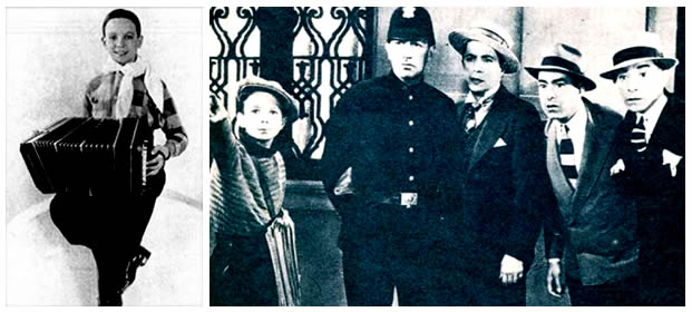 """Le jeune Astor Piazzolla jouant dans le film """"El dia que me quieras"""" avec Carlos Gardel en 1934."""