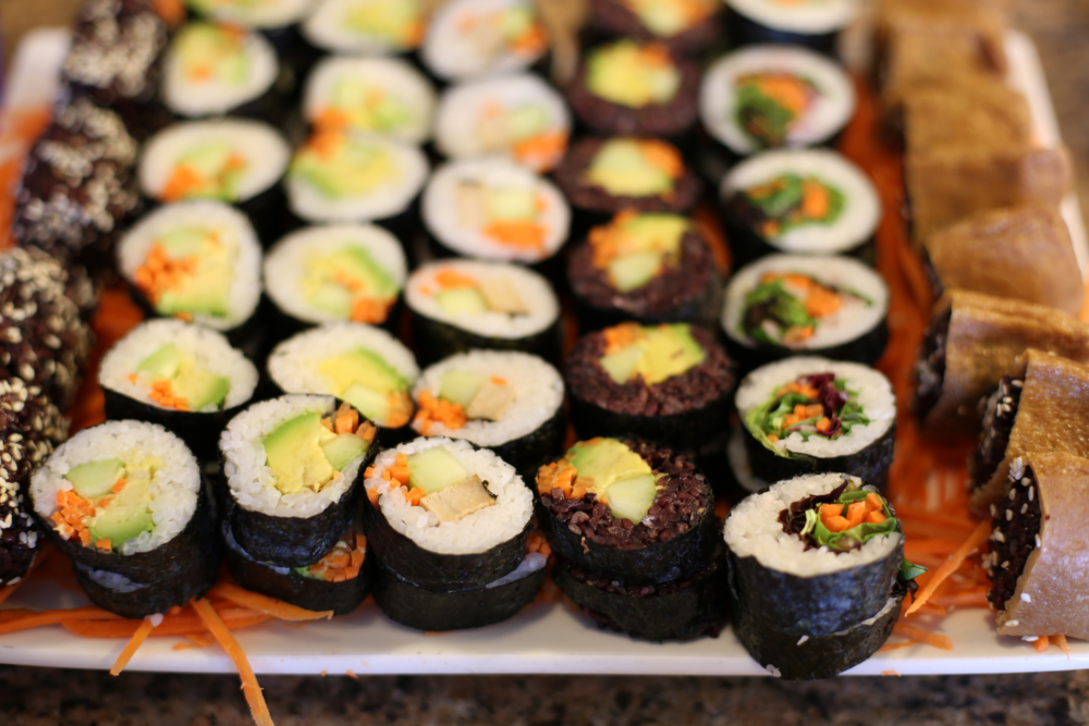 Items only available during our weekend buffet include a selection of vegan sushi.