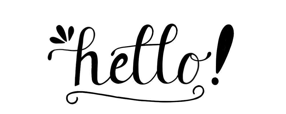 Hello hand lettering by designer Stephani Mrozinski