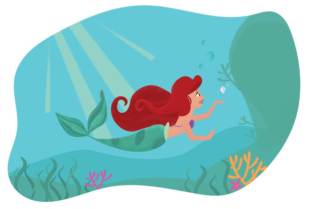 Little Mermaid Ariel illustration by designer Stephani Mrozinski