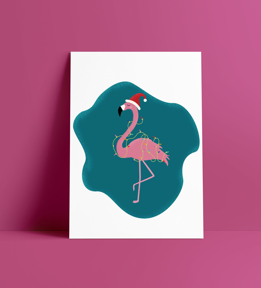 Festive Flamingo art print by designer Stephani Mrozinski