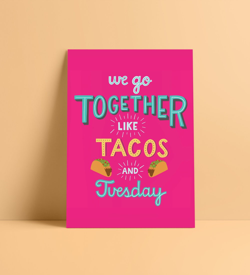 Taco Valentine printable by designer Stephani Mrozinski