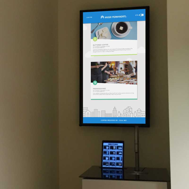 coffee display   Digital signage that allows users to engage with each other and read KP related news.