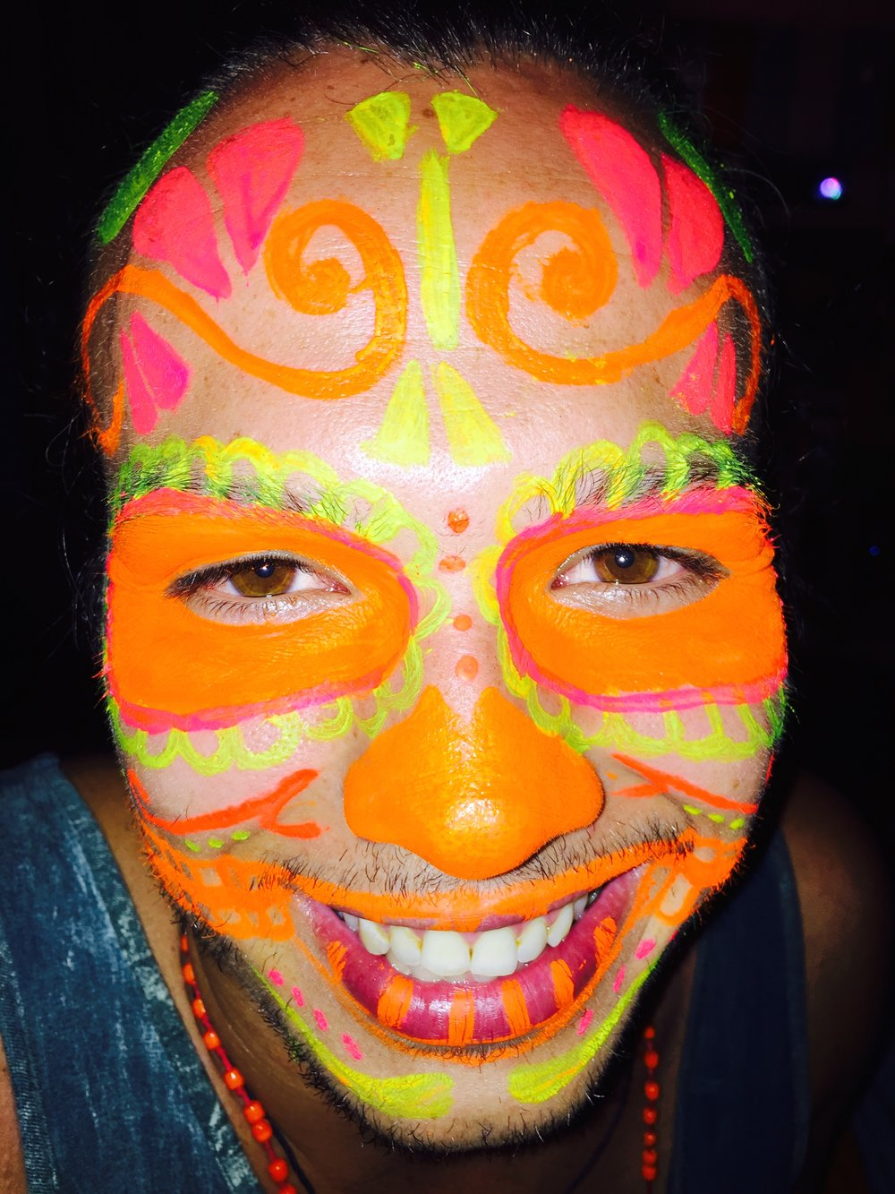 Is this not the coolest face paint job EVER?! People go all out for Full Moon Parties.