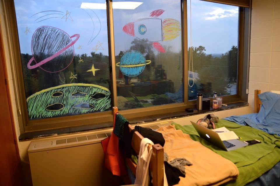 Here is what our dorm window looked like. I was lucky enough to get the bed by the mural!