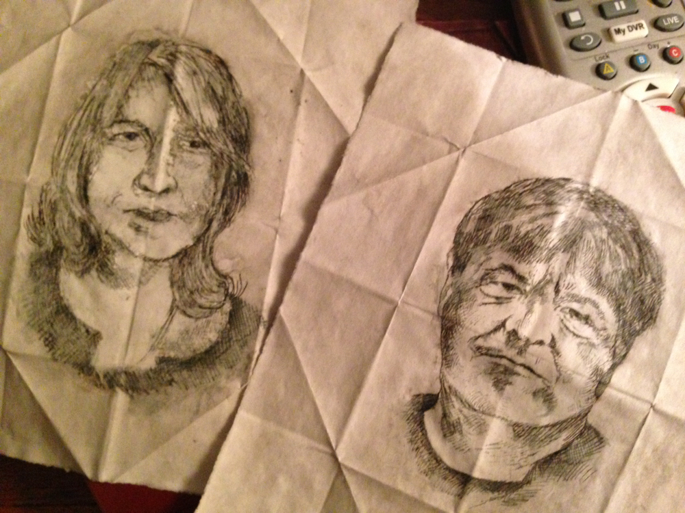 My husband Kevin Killian and I sketched by Neil LeDoux.